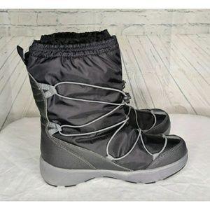 Land's End Blk/Gry Wmns Winter Boots SZ 9